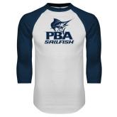 White/Navy Raglan Baseball T-Shirt-PBA Sailfish Stacked
