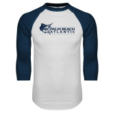 White/Navy Raglan Baseball T-Shirt-Palm Beach Atlantic University