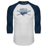 White/Navy Raglan Baseball T-Shirt-Baseball Crossed Bats Design