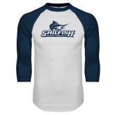 White/Navy Raglan Baseball T-Shirt-Softball