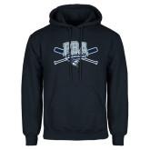 Navy Fleece Hood-Baseball Crossed Bats Design