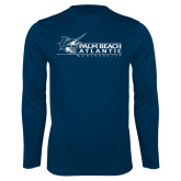 Performance Navy Longsleeve Shirt-Palm Beach Atlantic University