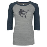 ENZA Ladies Athletic Heather/Navy Vintage Triblend Baseball Tee-Sailfish