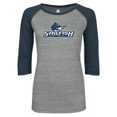 ENZA Ladies Athletic Heather/Navy Vintage Triblend Baseball Tee-Softball