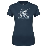 Ladies Syntrel Performance Navy Tee-PBA Sailfish Stacked