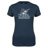 Ladies Syntrel Performance Navy Tee-PBA Sailfish Stacked