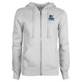 ENZA Ladies White Fleece Full Zip Hoodie-PBA Sailfish Stacked