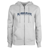 ENZA Ladies White Fleece Full Zip Hoodie-Palm Beach Atlantic University Arched