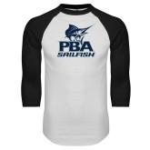 White/Black Raglan Baseball T-Shirt-PBA Sailfish Stacked