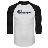 White/Black Raglan Baseball T-Shirt-Palm Beach Atlantic University