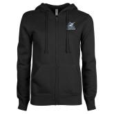 ENZA Ladies Black Fleece Full Zip Hoodie-PBA Sailfish Stacked