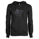 ENZA Ladies Black Fleece Full Zip Hoodie-Sailfish