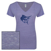 ENZA Ladies Surfer Blue Melange V Neck Tee-Sailfish