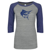 ENZA Ladies Athletic Heather/Blue Vintage Baseball Tee-Sailfish