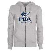 ENZA Ladies Grey Fleece Full Zip Hoodie-PBA Sailfish Stacked