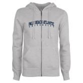 ENZA Ladies Grey Fleece Full Zip Hoodie-Palm Beach Atlantic University Arched