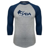 Grey/Navy Raglan Baseball T Shirt-Primary Mark