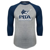 Grey/Navy Raglan Baseball T Shirt-PBA Sailfish Stacked