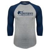 Grey/Navy Raglan Baseball T Shirt-Palm Beach Atlantic University