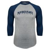 Grey/Navy Raglan Baseball T Shirt-Palm Beach Atlantic University Arched