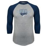 Grey/Navy Raglan Baseball T Shirt-Baseball Crossed Bats Design