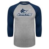 Grey/Navy Raglan Baseball T Shirt-Softball