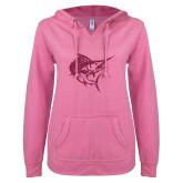 ENZA Ladies Hot Pink V Notch Raw Edge Fleece Hoodie-Sailfish