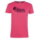 Ladies Fuchsia T Shirt-Primary Mark Foil