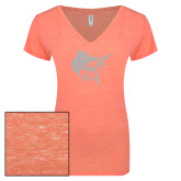 ENZA Ladies Coral Melange V Neck Tee-Sailfish