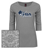 Ladies Grey Heather Tri Blend Lace 3/4 Sleeve Tee-Primary Mark