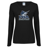 Ladies Black Long Sleeve V Neck T Shirt-PBA Sailfish Stacked