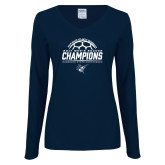 Ladies Navy Long Sleeve V Neck Tee-2017 Mens Soccer Champions