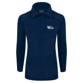 Columbia Ladies Half Zip Navy Fleece Jacket-Primary Mark