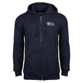 Navy Fleece Full Zip Hood-Primary Mark