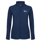Ladies Fleece Full Zip Navy Jacket-Primary Mark