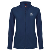Ladies Fleece Full Zip Navy Jacket-PBA Sailfish Stacked