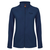 Ladies Fleece Full Zip Navy Jacket-Primary Mark Tone
