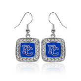 College Crystal Studded Square Pendant Silver Dangle Earrings-PC