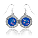 Crystal Studded Round Pendant Silver Dangle Earrings-PC
