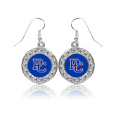 College Crystal Studded Round Pendant Silver Dangle Earrings-PC