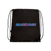 Nylon Black Drawstring Backpack-Blue Hose
