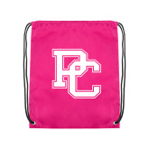 College Pink Drawstring Backpack-PC