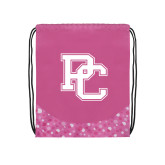 Nylon Pink Bubble Patterned Drawstring Backpack-PC