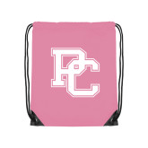 College Light Pink Drawstring Backpack-PC