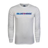 White Long Sleeve T Shirt-Blue Hose