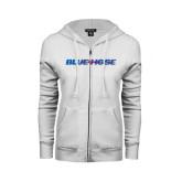 ENZA Ladies White Fleece Full Zip Hoodie-Blue Hose