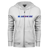 College ENZA Ladies White Fleece Full Zip Hoodie-Blue Hose
