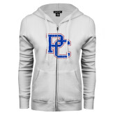 College ENZA Ladies White Fleece Full Zip Hoodie-PC Distressed