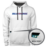 College Contemporary Sofspun White Hoodie-Blue Hose