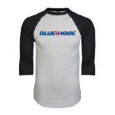 White/Black Raglan Baseball T-Shirt-Blue Hose